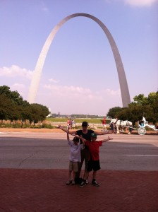 full time rv family sees the arch